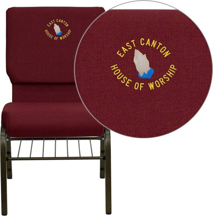 Flash Furniture XU-CH-60096-BY-BAS-EMB-GG Embroidered HERCULES Series 18.5''W Church Chair in Burgundy Fabric with Book Rack - Gold Vein Frame