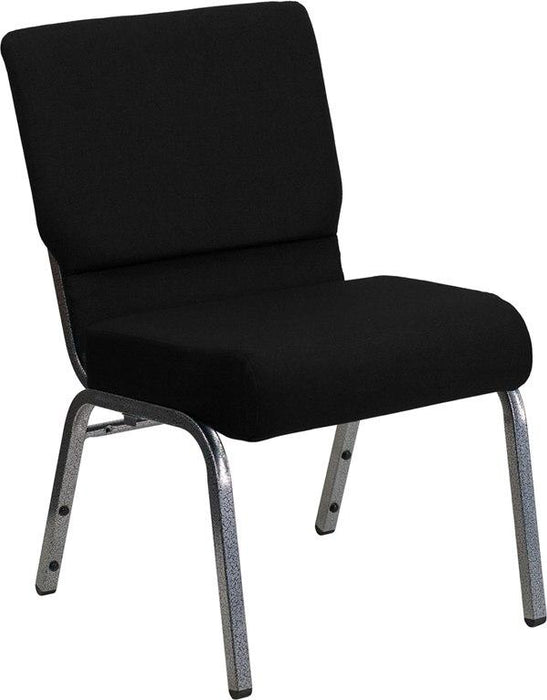 Flash Furniture XU-CH0221-BK-SV-GG HERCULES Series 21''W Stacking Church Chair in Black Fabric - Silver Vein Frame