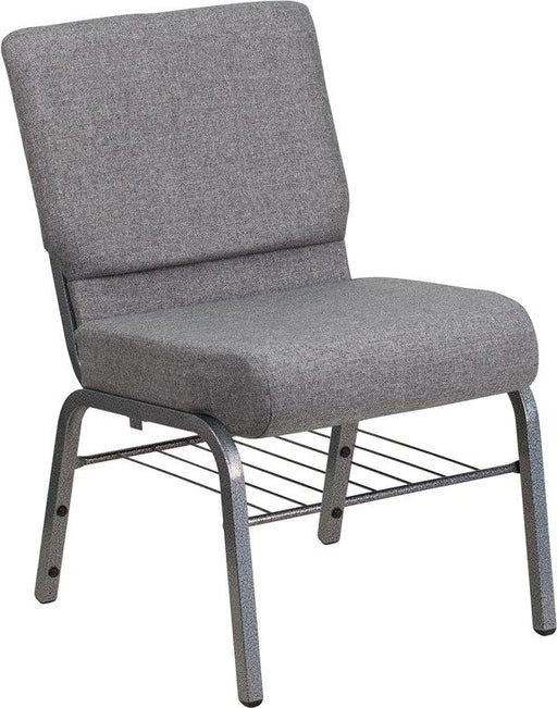 Flash Furniture XU-CH0221-GY-SV-BAS-GG HERCULES Series 21''W Church Chair in Gray Fabric with Book Rack - Silver Vein Frame