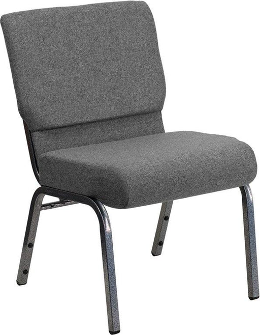 Flash Furniture XU-CH0221-GY-SV-GG HERCULES Series 21''W Stacking Church Chair in Gray Fabric - Silver Vein Frame