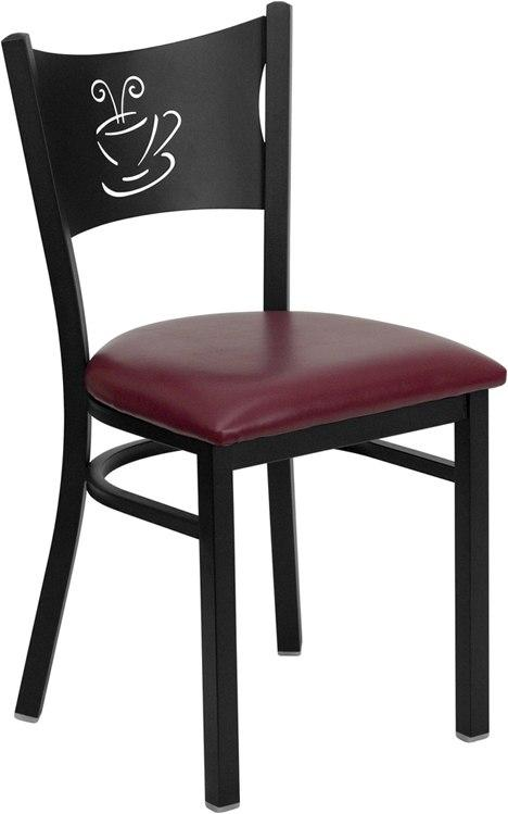 Flash Furniture XU-DG-60099-COF-BURV-GG HERCULES Series Black Coffee Back Metal Restaurant Chair - Burgundy Vinyl Seat