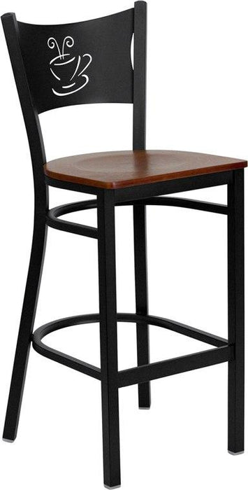 Flash Furniture XU-DG-60114-COF-BAR-CHYW-GG HERCULES Series Black Coffee Back Metal Restaurant Barstool - Cherry Wood Seat