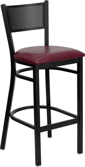 Flash Furniture XU-DG-60116-GRD-BAR-BURV-GG HERCULES Series Black Grid Back Metal Restaurant Barstool - Burgundy Vinyl Seat