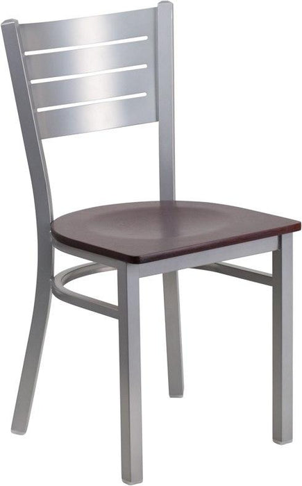 Flash Furniture XU-DG-60401-MAHW-GG HERCULES Series Silver Slat Back Metal Restaurant Chair - Mahogany Wood Seat