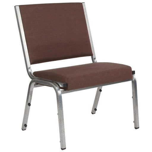 Flash Furniture XU-DG-60442-660-1-BRN-GG HERCULES Series 1500 lb. Rated Brown Antimicrobial Fabric Bariatric Chair with Silver Vein Frame