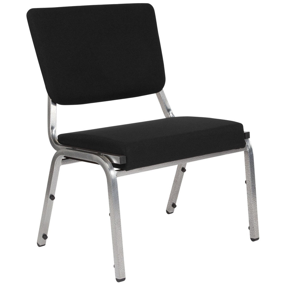 Flash Furniture XU-DG-60442-660-2-BK-GG HERCULES Series 1500 lb. Rated Black Antimicrobial Fabric Bariatric Chair with 3/4 Panel Back and Silver Vein Frame