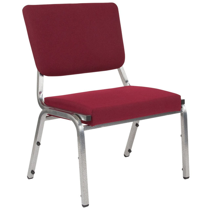 Flash Furniture XU-DG-60442-660-2-BY-GG HERCULES Series 1500 lb. Rated Burgundy Antimicrobial Fabric Bariatric Chair with 3/4 Panel Back and Silver Vein Frame