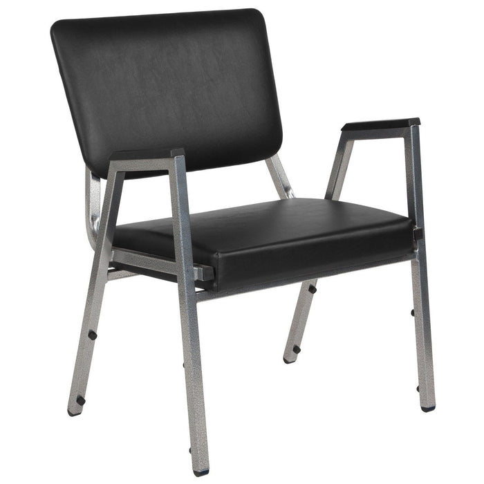 Flash Furniture XU-DG-60443-670-2-BV-GG HERCULES Series 1500 lb. Rated Black Antimicrobial Vinyl Bariatric Arm Chair with 3/4 Panel Back and Silver Vein Frame