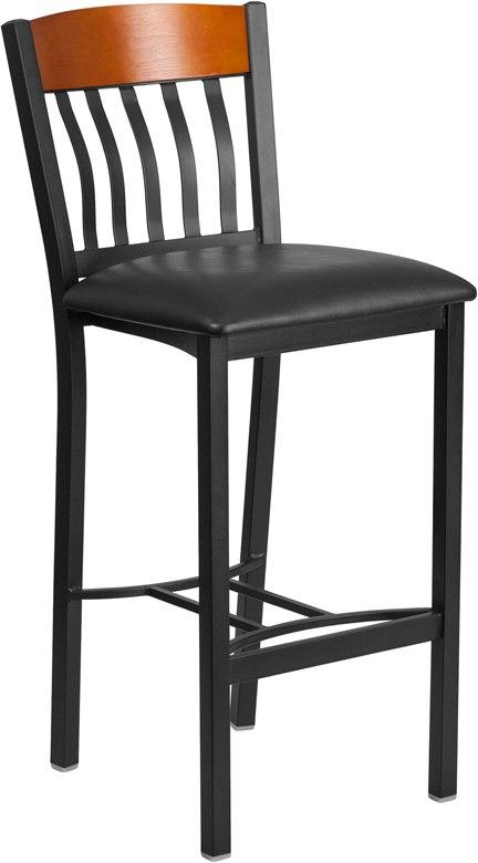 Flash Furniture XU-DG-60618B-CHY-BLKV-GG Eclipse Series Vertical Back Black Metal and Cherry Wood Restaurant Barstool with Black Vinyl Seat