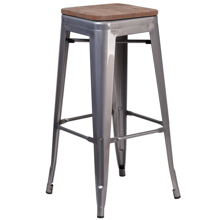 "Flash Furniture XU-DG-TP0004-30-WD-GG 30"" High Backless Clear Coated Metal Barstool with Square Wood Seat"