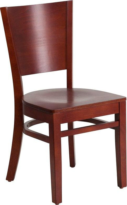 Flash Furniture XU-DG-W0094B-MAH-MAH-GG Lacey Series Solid Back Mahogany Wood Restaurant Chair