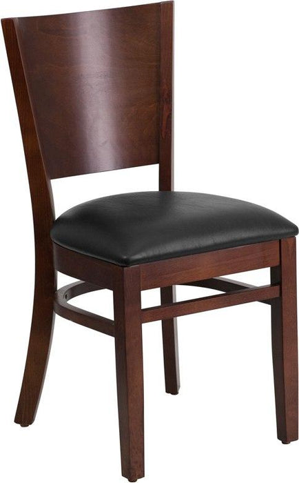 Flash Furniture XU-DG-W0094B-WAL-BLKV-GG Lacey Series Solid Back Walnut Wood Restaurant Chair - Black Vinyl Seat