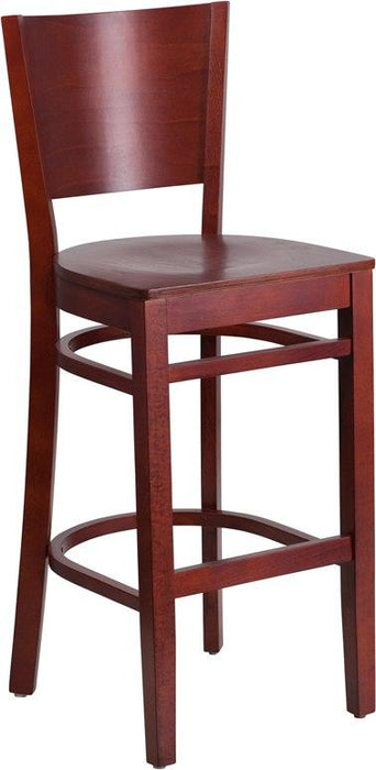 Flash Furniture XU-DG-W0094BAR-MAH-MAH-GG Lacey Series Solid Back Mahogany Wood Restaurant Barstool