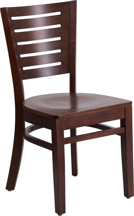 Flash Furniture XU-DG-W0108-WAL-WAL-GG Darby Series Slat Back Walnut Wood Restaurant Chair