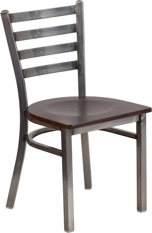 Flash Furniture XU-DG694BLAD-CLR-WALW-GG HERCULES Series Clear Coated Ladder Back Metal Restaurant Chair - Walnut Wood Seat