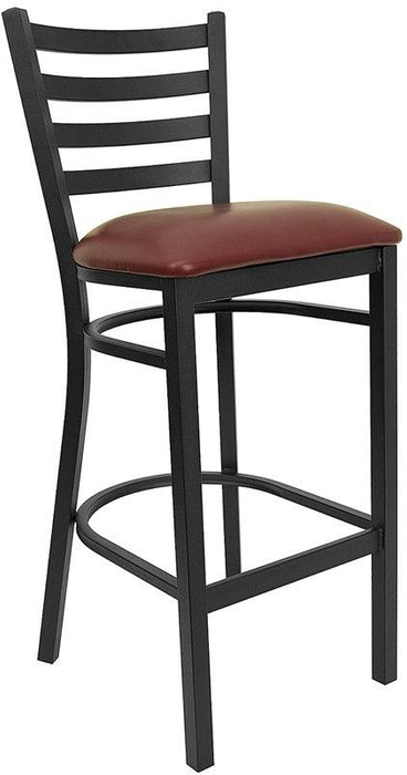 Flash Furniture XU-DG697BLAD-BAR-BURV-GG HERCULES Series Black Ladder Back Metal Restaurant Barstool - Burgundy Vinyl Seat