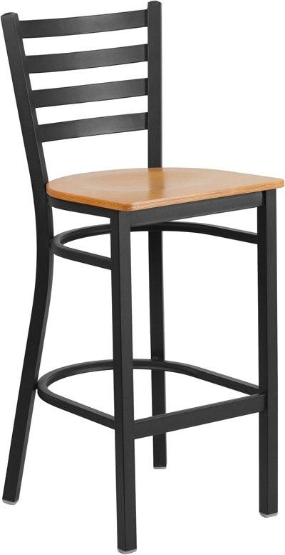 Flash Furniture XU-DG697BLAD-BAR-NATW-GG HERCULES Series Black Ladder Back Metal Restaurant Barstool - Natural Wood Seat