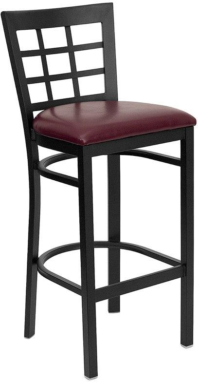 Flash Furniture XU-DG6R7BWIN-BAR-BURV-GG HERCULES Series Black Window Back Metal Restaurant Barstool - Burgundy Vinyl Seat