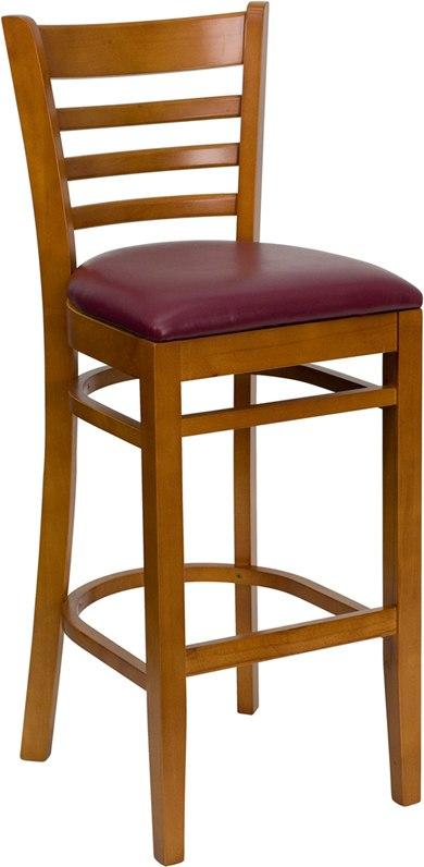 Flash Furniture XU-DGW0005BARLAD-CHY-BURV-GG HERCULES Series Ladder Back Cherry Wood Restaurant Barstool - Burgundy Vinyl Seat