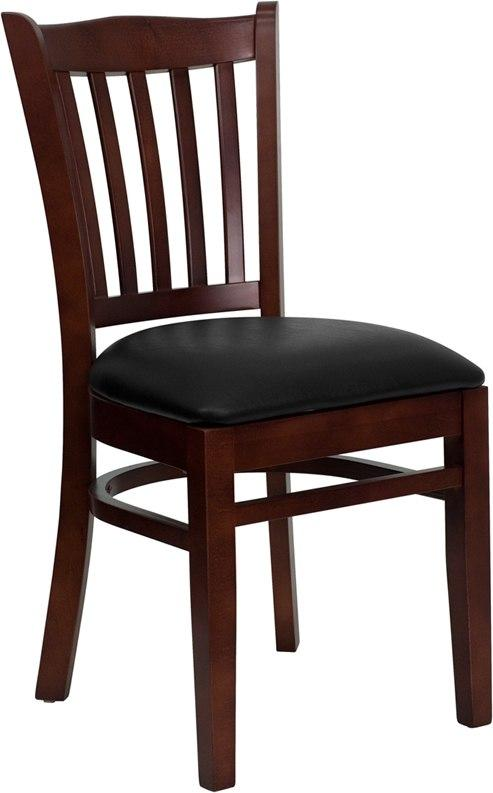 Flash Furniture XU-DGW0008VRT-MAH-BLKV-GG HERCULES Series Vertical Slat Back Mahogany Wood Restaurant Chair - Black Vinyl Seat