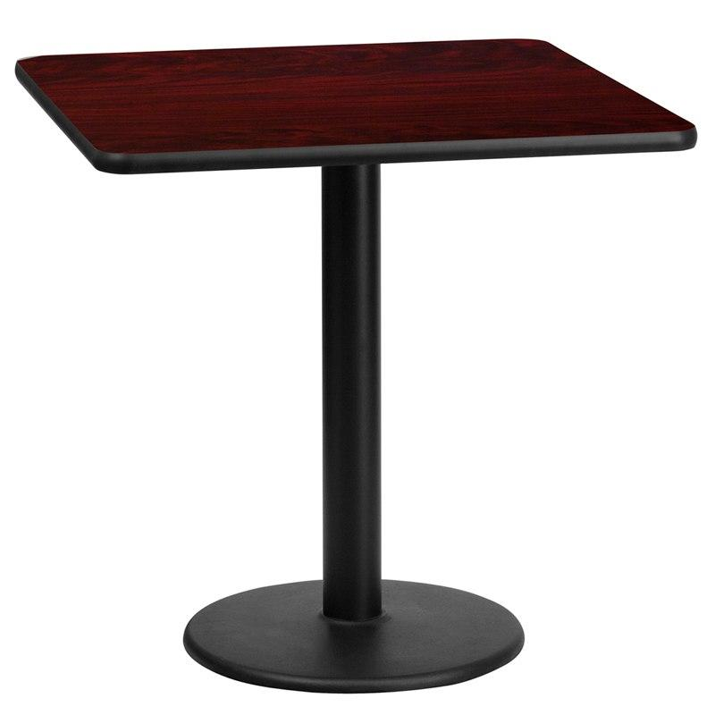 Flash Furniture XU-MAHTB-2424-TR18-GG 24'' Square Mahogany Laminate Table Top with 18'' Round Table Height Base