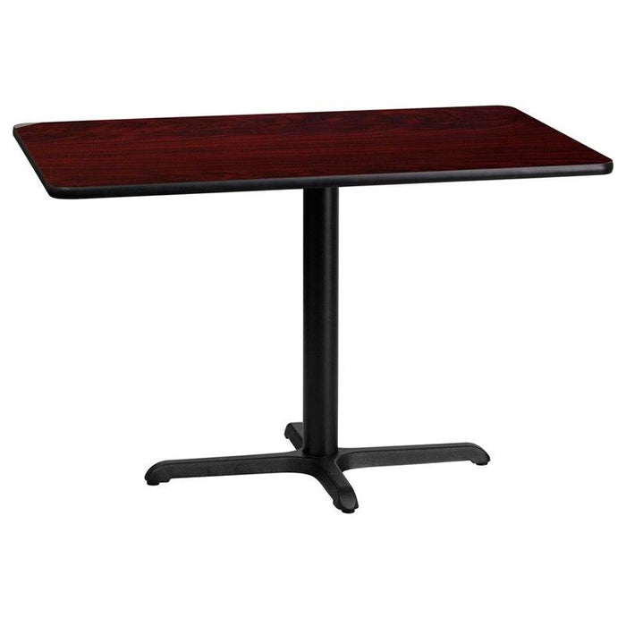 Flash Furniture XU-MAHTB-2442-T2230-GG 24'' x 42'' Rectangular Mahogany Laminate Table Top with 22'' x 30'' Table Height Base