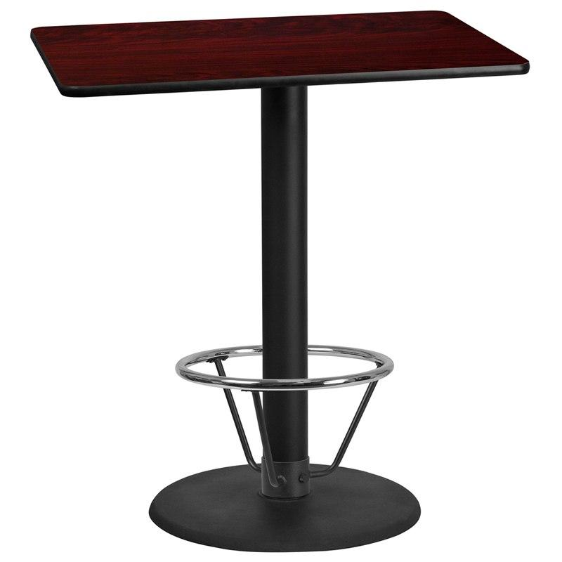 Flash Furniture XU-MAHTB-3042-TR24B-4CFR-GG 30'' x 42'' Rectangular Mahogany Laminate Table Top with 24'' Round Bar Height Table Base and Foot Ring