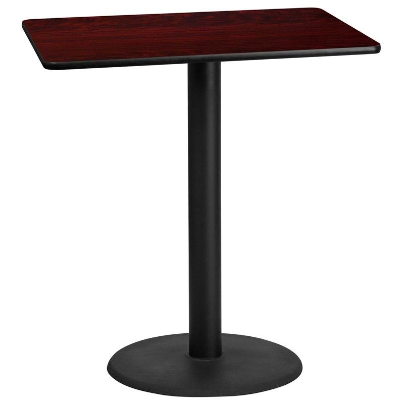 Flash Furniture XU-MAHTB-3042-TR24B-GG 30'' x 42'' Rectangular Mahogany Laminate Table Top with 24'' Round Bar Height Table Base