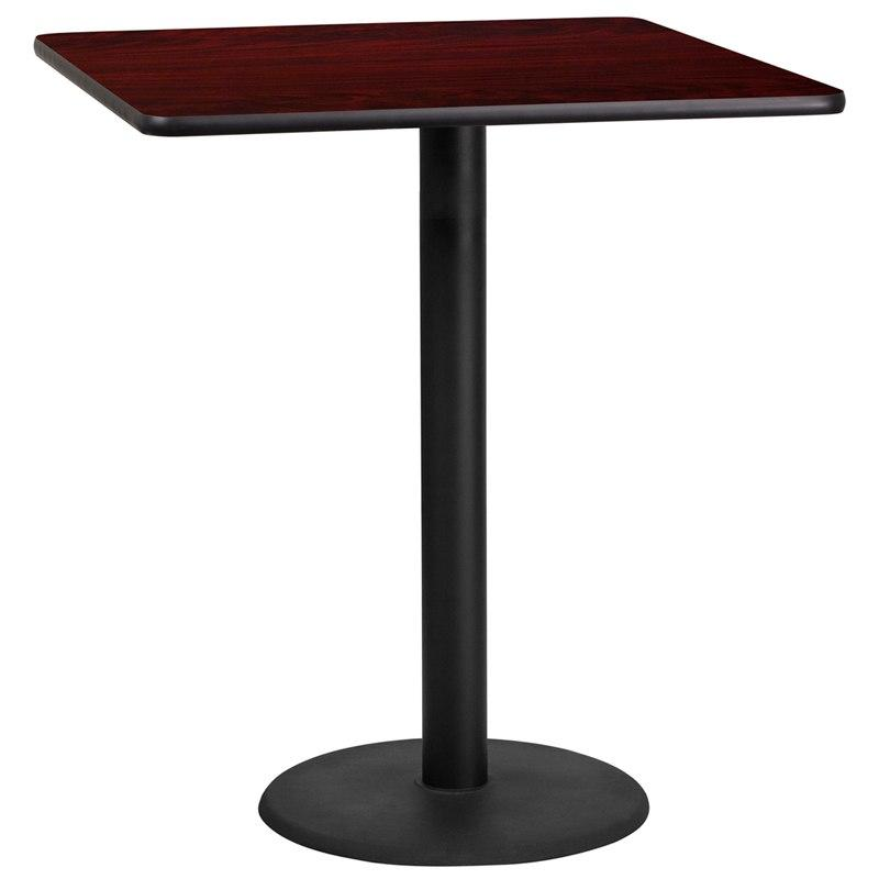Flash Furniture XU-MAHTB-3636-TR24B-GG 36'' Square Mahogany Laminate Table Top with 24'' Round Bar Height Table Base