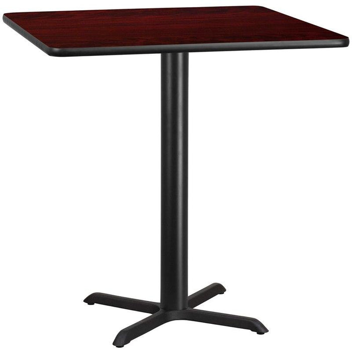 Flash Furniture XU-MAHTB-4242-T3333B-GG 42'' Square Mahogany Laminate Table Top with 33'' x 33'' Bar Height Table Base