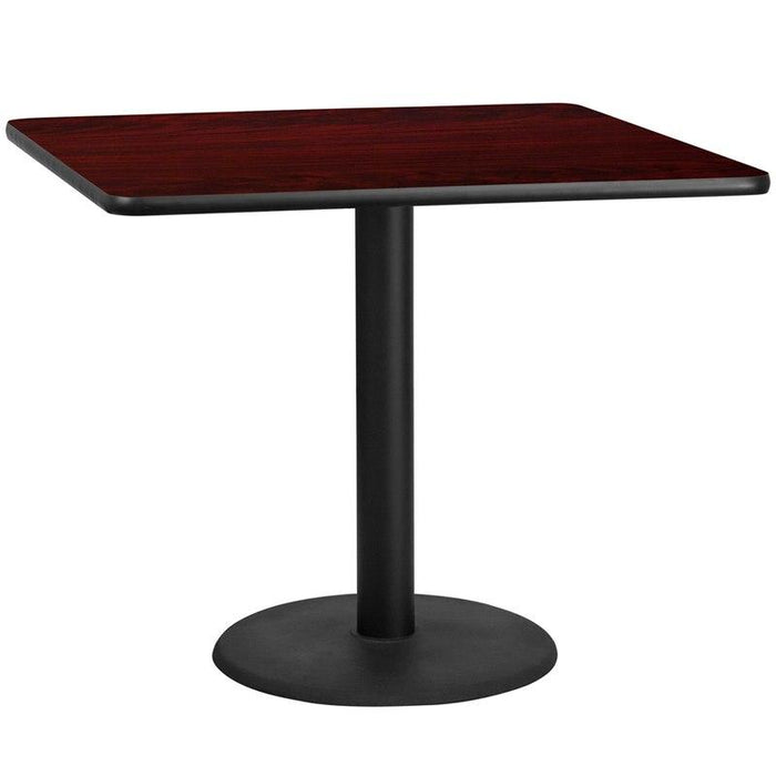 Flash Furniture XU-MAHTB-4242-TR24-GG 42'' Square Mahogany Laminate Table Top with 24'' Round Table Height Base