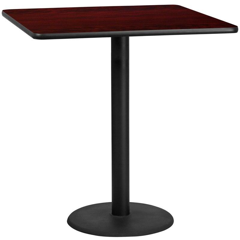 Flash Furniture XU-MAHTB-4242-TR24B-GG 42'' Square Mahogany Laminate Table Top with 24'' Round Bar Height Table Base