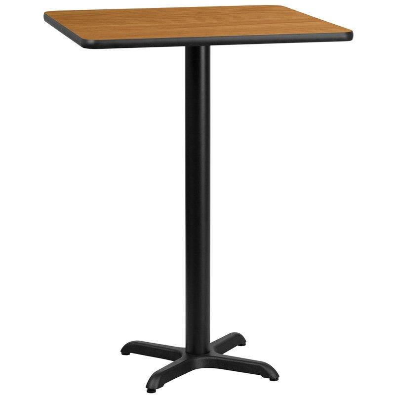 Flash Furniture XU-NATTB-3030-T2222B-GG 30'' Square Natural Laminate Table Top with 22'' x 22'' Bar Height Table Base