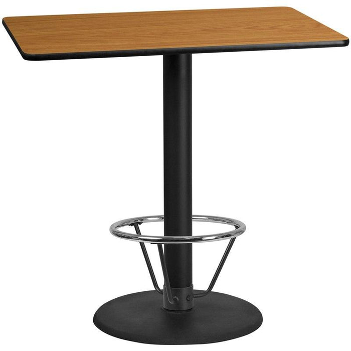 Flash Furniture XU-NATTB-3048-TR24B-4CFR-GG 30'' x 48'' Rectangular Natural Laminate Table Top with 24'' Round Bar Height Table Base and Foot Ring