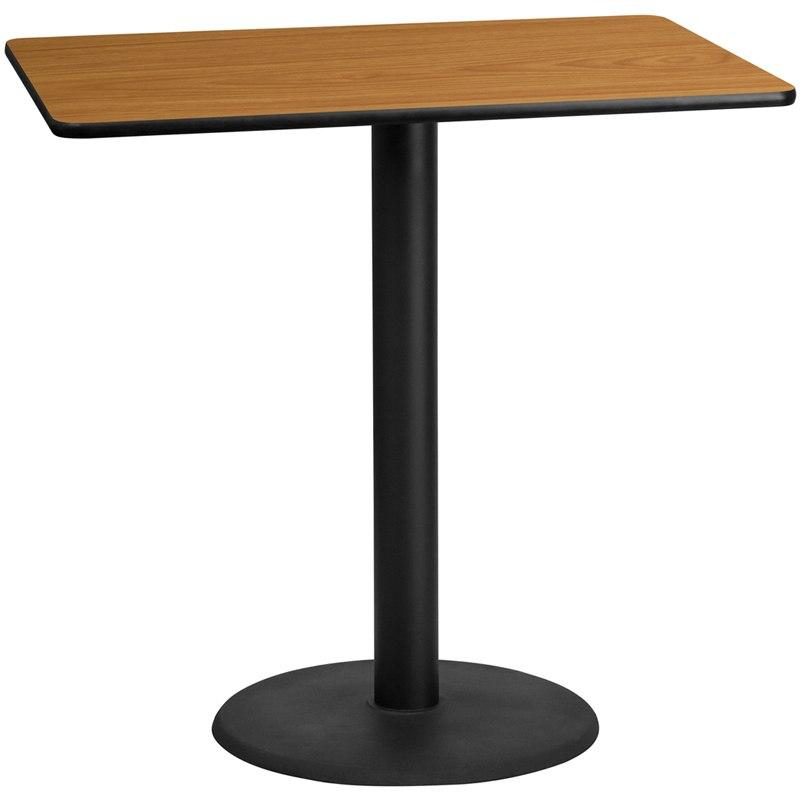 Flash Furniture XU-NATTB-3048-TR24B-GG 30'' x 48'' Rectangular Natural Laminate Table Top with 24'' Round Bar Height Table Base