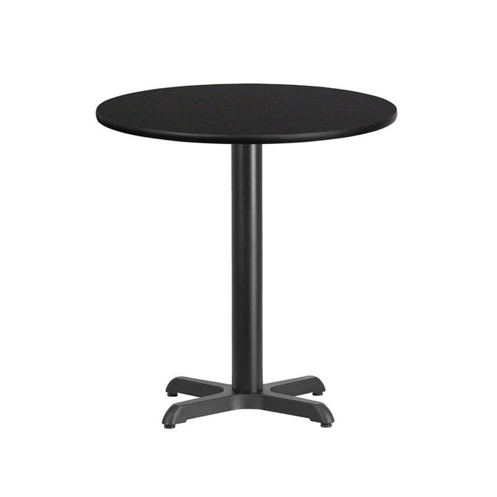 Flash Furniture XU-RD-24-BLKTB-T2222-GG 24'' Round Black Laminate Table Top with 22'' x 22'' Table Height Base