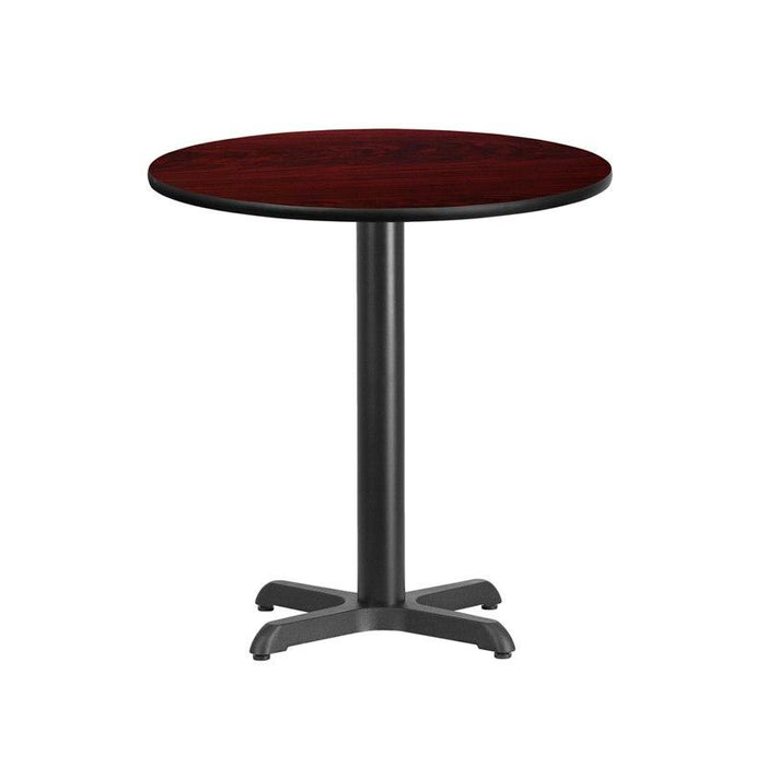 Flash Furniture XU-RD-24-MAHTB-T2222-GG 24'' Round Mahogany Laminate Table Top with 22'' x 22'' Table Height Base