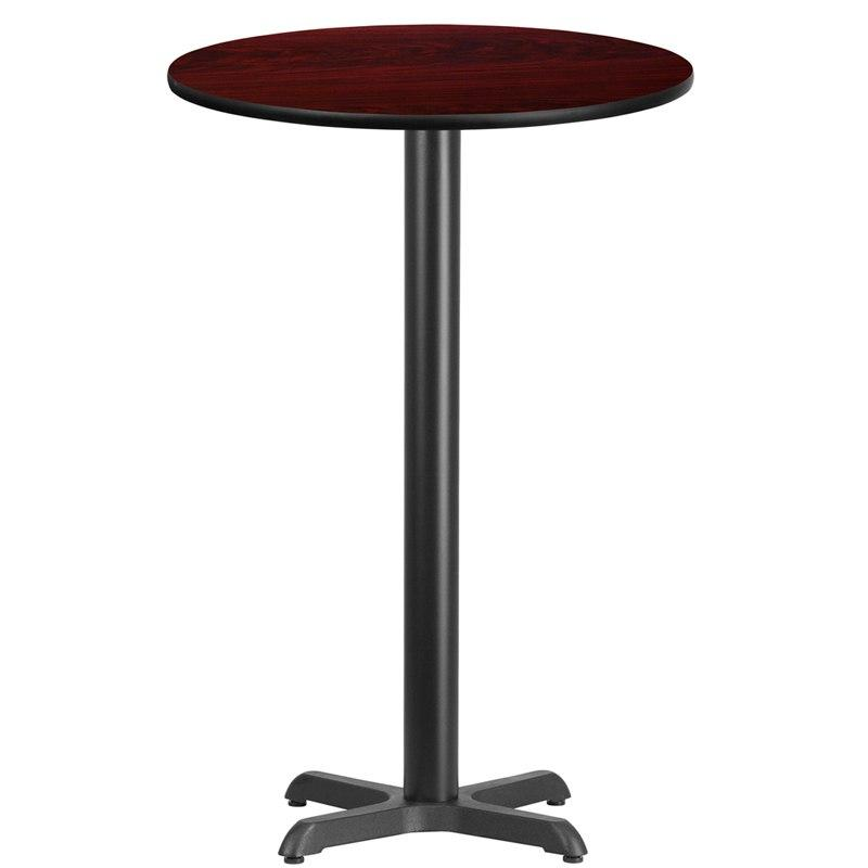 Flash Furniture XU-RD-24-MAHTB-T2222B-GG 24'' Round Mahogany Laminate Table Top with 22'' x 22'' Bar Height Table Base