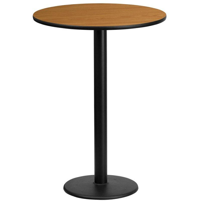 Flash Furniture XU-RD-24-NATTB-TR18B-GG 24'' Round Natural Laminate Table Top with 18'' Round Bar Height Table Base