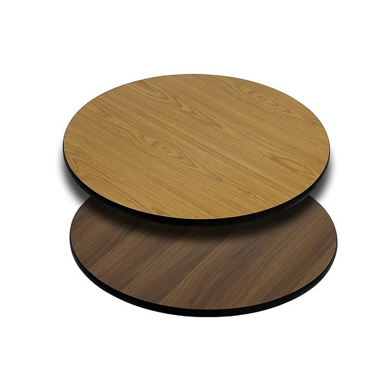 Flash Furniture XU-RD-24-WNT-GG 24'' Round Table Top with Natural or Walnut Reversible Laminate Top