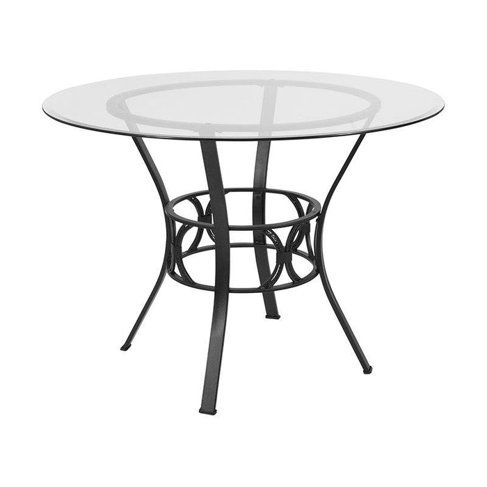 Flash Furniture XU-TBG-6-GG Carlisle 42'' Round Glass Dining Table with Black Metal Frame
