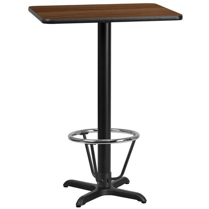 Flash Furniture XU-WALTB-2430-T2222B-3CFR-GG 24'' x 30'' Rectangular Walnut Laminate Table Top with 22'' x 22'' Bar Height Table Base and Foot Ring