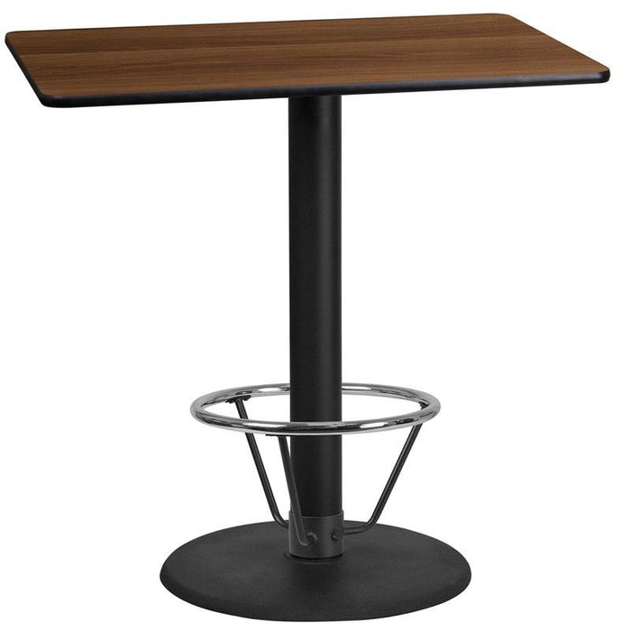 Flash Furniture XU-WALTB-2442-TR24B-4CFR-GG 24'' x 42'' Rectangular Walnut Laminate Table Top with 24'' Round Bar Height Table Base and Foot Ring