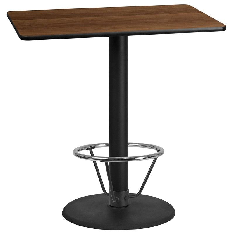 Flash Furniture XU-WALTB-3045-TR24B-4CFR-GG 30'' x 45'' Rectangular Walnut Laminate Table Top with 24'' Round Bar Height Table Base and Foot Ring