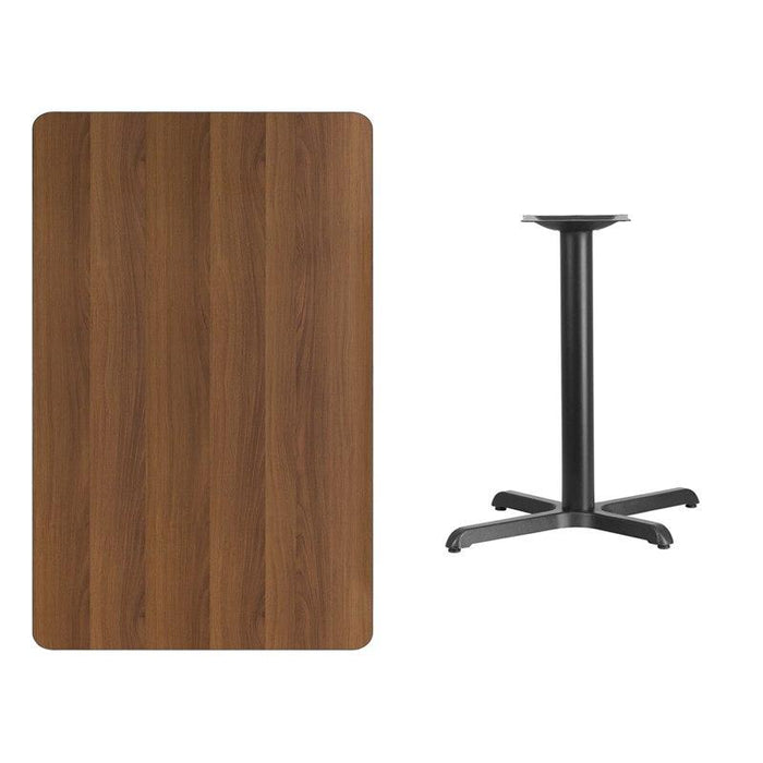 Flash Furniture XU-WALTB-3048-TR24-GG 30'' x 48'' Rectangular Walnut Laminate Table Top with 24'' Round Table Height Base