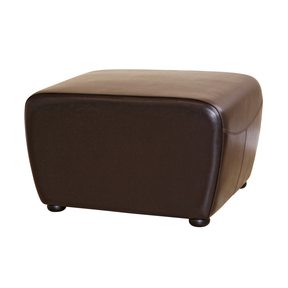 Wholesale interiors Dark Brown Full Leather Ottoman with Rounded Sides Y-051-001-dark brown