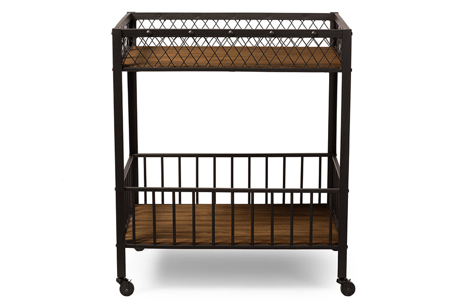 Wholesale interiors Bentley Antiqued Vintage Industrial Metal and Wood Wheeled Kitchen Serving Cart YLX-9032