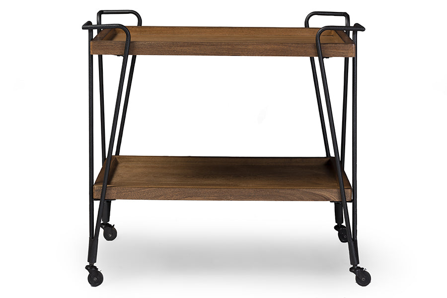 Wholesale interiors Jessica Rustic Industrial Style Antique Black Textured Finish Metal Distressed Ash Wood Mobile Serving Bar Cart YLX-9040