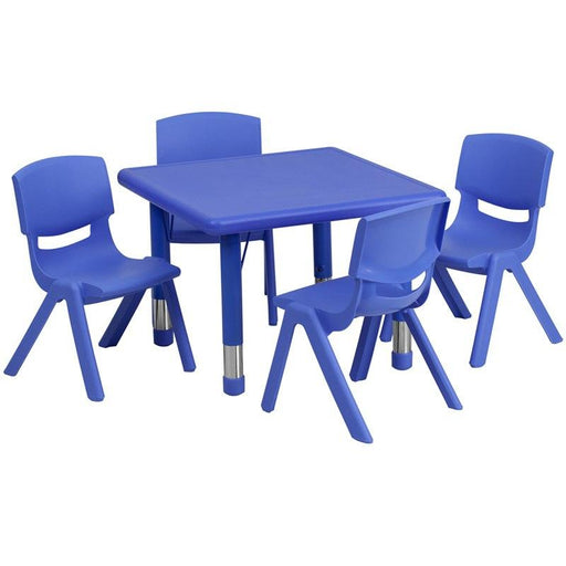 Flash Furniture YU-YCX-0023-2-SQR-TBL-BLUE-E-GG 24'' Square Blue Plastic Height Adjustable Activity Table Set with 4 Chairs