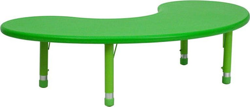 Flash Furniture YU-YCX-004-2-MOON-TBL-GREEN-GG 35''W x 65''L Half-Moon Green Plastic Height Adjustable Activity Table
